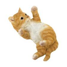 lifelike orange tabby cat kitten outdoor yard garden lawn art decor statue