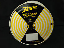 Vintage Zenith Wire Cables UHF VHF Tin Metal Spool Black Yellow Stripes Sign