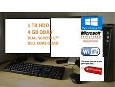 "Dell PC Core Quad 1TB HDD 4GB DDR3 WiFi Windows 10 Dual Screen TFT 2 x 17"" DELL"
