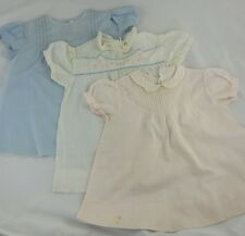 Vintage Baby Dresses Lot of 3 Light Blue, Pink & White Embroidered 6-12 Months