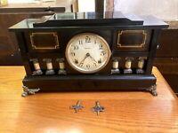 "Antique Enameled Wood INGRAHAM ""DeSoto"" Mantel Clock c.1920 WORKS!!!"