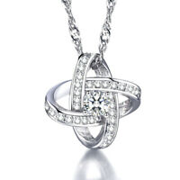 Women's 925 Sterling Silver Inlay Crystal Star Pendant Necklace Fashion Jewelry
