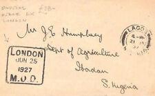 CB284 1927 GB *M.O.O* Datestamp London MONEY ORDER OFFICE Unusual Cover Lagos