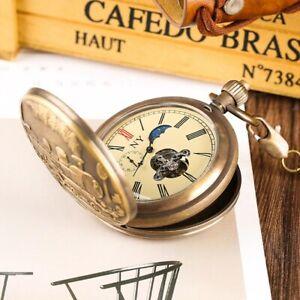 Men's Pocket Watch Railroad Vintage Copper Tourbillon Rare Moon/Sun/Sec Dials!!!