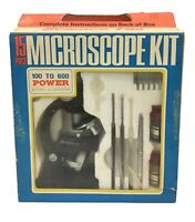 Vintage 15 Pc Radio Shack Science Fair Microscope Kit 1968, 100X to 600X Power