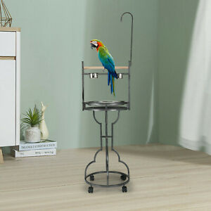 """72"""" Parrot Perch Playstand Bird Play Stand Toy Hook Rolling Wheel  Wrought Iron"""