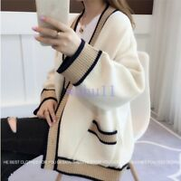 Women's Chic Autumn Loose Knit Cardigan Korean V-Neck Sweater Coat Fashion Solid