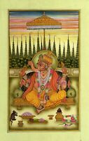 Hand Painted India Miniature Art Of Lord Ganesha Painting Fine Religious Artwork