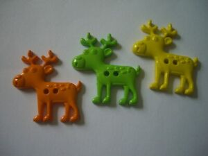 """ANIMAL SHAPED   """" MOOSE """"   2 HOLE  BUTTONS  x 3  (PACK A )  FREE P&P"""