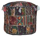 Indian Pouf Ottoman Pouffe Poof Round Pouf Cover Ethnic Decorative Pillow Art