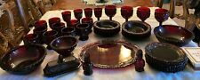 Avon Cape Cod Ruby Red Vintage wine, butter, bowls, platter, 40 piece lot