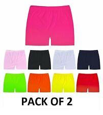 2 Pack Girls Lycra Cycling Shorts Hot Pants Stretchy School Dance Gym Shorts New