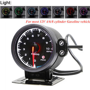 Black Surface 7 Colors LED Display Car Pointer Electronic Tachometer