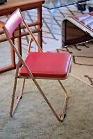 Industrial Vintage Mid Century Japanese Sankei Metal Folding Outdoor Chair Pink3