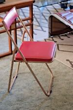 Industrial Vintage Mid Century Japanese Sankei Metal Folding Outdoor Chair Pink3