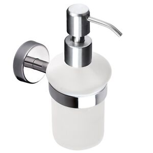 Wall Mounted Soap Dispenser Frosted Glass Stainless Steel Shampoo Pump Bottle