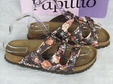 NEW Papillio By Birkenstock Ladies Brown Floral Soft Footbed Sandals Size 4.5 37