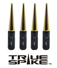 16 TRUE SPIKE 121MM 12X1.5 STEEL TUNER LUG NUTS W/ GOLD EXTENDED SPIKES B