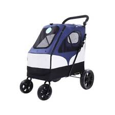 Large Dog Stroller Medium Pet Stroller Jogger Stroller Folding Dog Carrier Blue