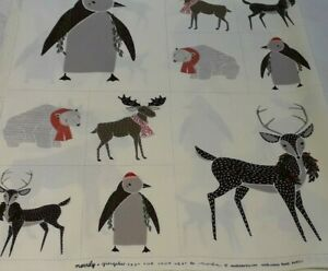 "Moda 100% Cotton Fabric Panel  Penguin/Reindeer/Polar Bear Design W 18"" x L 22"""