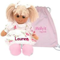Personalised Large Rag Doll Flower Girl Birthday Baby Christmas Baptism Gift+Bag