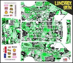 Sticker Set Skin Wrap GREEN Stickerbomb Bombing Theme Fits Tamiya Lunch Box body