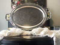 Large Vintage Silverplate Henley Tudor Oneida Serving Tray Platter