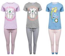 Ladies Cute Two Piece Good Morning/Smile Short Sleeve Cotton Pyjama Set, PJ