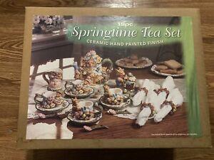 New Mercuries 19 Piece Springtime Tea Set 1999 Ceramic Hand Painted Complete