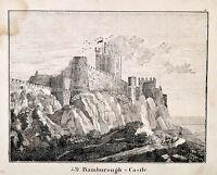 Bambugh Castle UK England Orig Lithograph 1831 aus Bildergalerie für die Jugend
