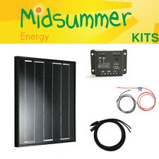 50W 12V Midsummer Energy All-black Mono Solar PV Charger Kit - Bosch Solar Cells