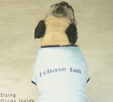 """Casual Canine Humor T-Shirt """"I CHASE TAIL"""" X-Small Toy Dog Blue Cotton Jersey"""