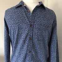 Men's White Stuff Blue Cotton Chambray Leaf Print Shirt Size S Slim Fit