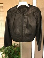 ESPRIT women's Leather Black Cropped Crew Neck Collarless jacket Pocket Size S