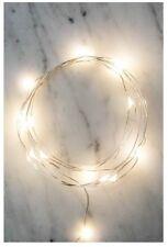 Kikkerland String/Fairy 20 White Lights LT02 6 ft flexible silver wire AA batt.