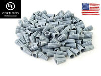 (100) Grey Twist-On Wire Connector Connection nuts 22-16 Gauge Barrel Screw US