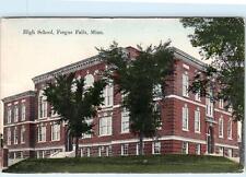 FERGUS FALLS,  MN Minnesota   HIGH SCHOOL   1910   Handcolored    Postcard