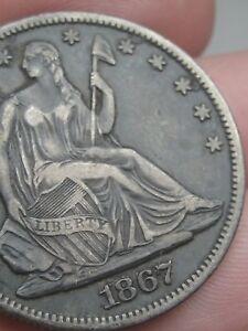 1867 P Seated Liberty Half Dollar- XF Details