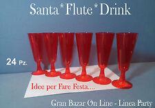 NATALE SANTA FLUTES ROSSO 24 Pz. calici in plexiglass Top Quality Festa Cenone