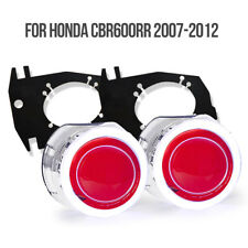 KT for Honda CBR600RR 2007-2012 LED Angel Eyes HID Projector Lens Headlight Red