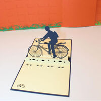 Handmade DIY Paper Cut Bicycle Cards Father's Day Gift Postcard Envelope Jian