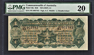 Australia KGV One Pound 1927 Riddle-Heathershaw Pick-16c Very Fine PMG 20