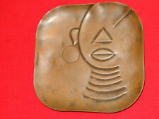 """6"""" Rebajes African Woman Copper Tray Mid Century Modernist Wall Plaque Rare"""