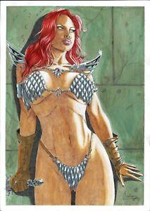 "Red Sonja (11""x17"") - original comic art 1/1 by Leandro Queiroz - CosmoTrama"