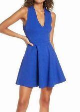 Lulus Women's Dress Cobalt Blue Size Large L A-Line V-Neck Open Back $49 #403