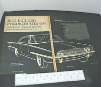 1959 Gus Heinze Rendering 1960 New Model Chevrolet 2 Page Vintage Print Ad