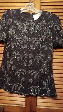 Papell Boutique Silk Evening Black & Silver Beaded Top Size M