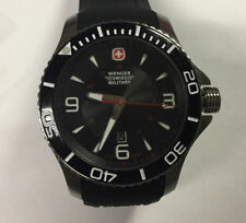 Wenger 0641.20Sea Force Diver Swiss Made Leather Strap Large Numerals Black Dial