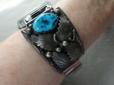 Giant Old Navajo F. Arviso Sterling Silver + Turquoise Foliate Watch Tips