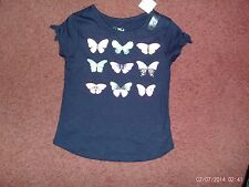 justice - size 5---navy blue tee shirt colorful butterflies/diamond studs--nwt